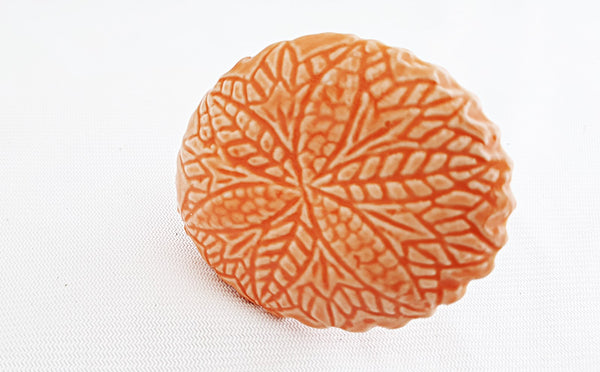 Ceramic stunning big orange embossed 6cm round door knob