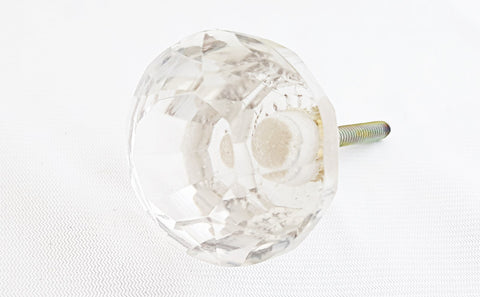 Glass big shabby chic clear natural crystal cut 5cm round door knob