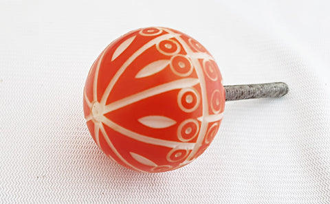 Acrylic red unique embossed design 3.5cm ball round door knob