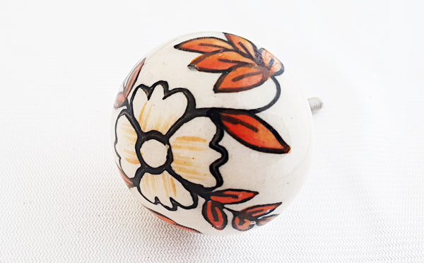 Ceramic foliage colors floral leafy design 4cm round door knob