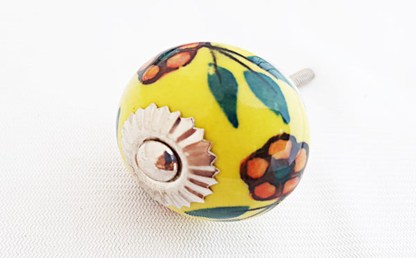 Ceramic yellow red floral design 4cm round door knob