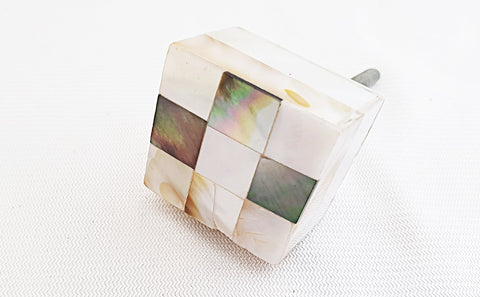 Acrylic mother of pearl 3.5cm square door knob