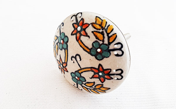 Ceramic colorful floral cream embossed 4..5cm round door knob