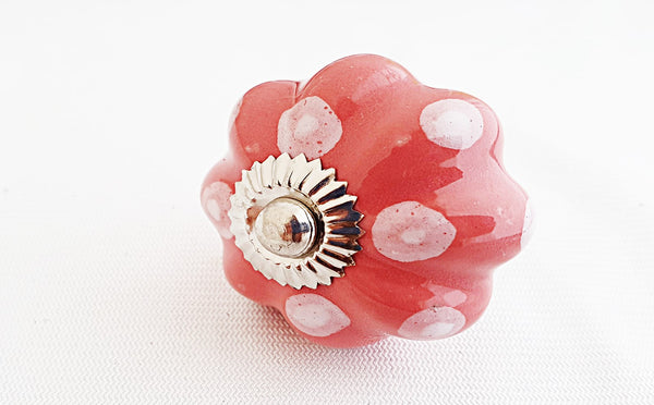 Ceramic pink funky white dots pumpkin 4.5cm door knob