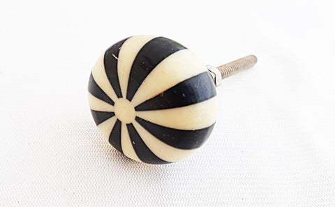 Resin small black and cream candy design round 3.5cm door knob