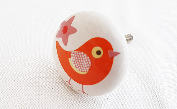 Ceramic kids orange bird shabby chic printed 4cm round door knob