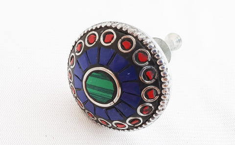 Metal retro vntage blue semi-precious gemstones 35cm round door knob