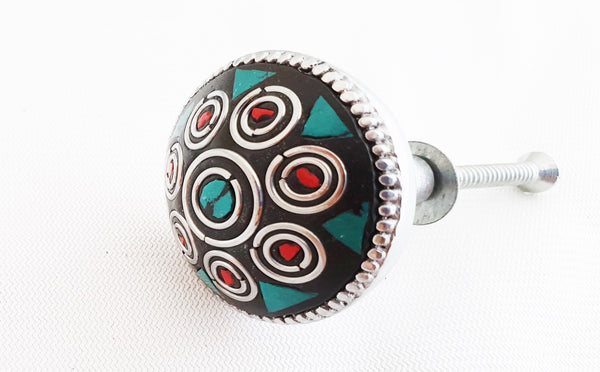 Metal retro vintage semi-precious gemstones turquoise green 3.5cm door knob