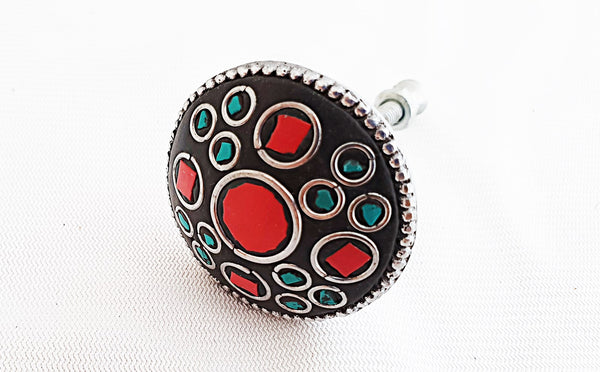 Metal retro vintage Semi Precious gemstones red 3.5cm round door knob