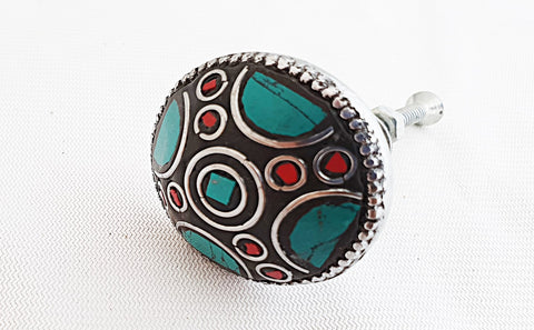 Metal retro vintage semi-precious gemstones turquoise red 3.5cm door knob