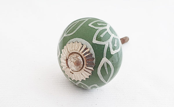 New Ceramic olive green delicate white 4cm round door knob