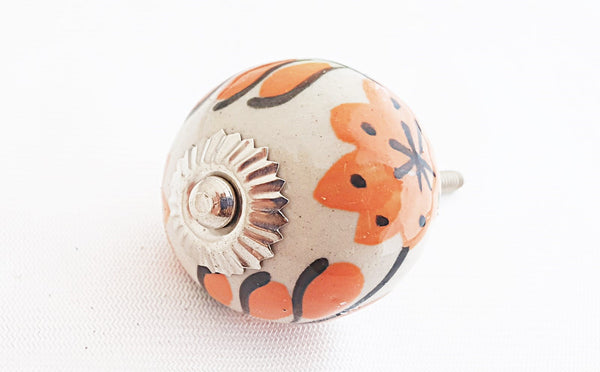 Ceramic orange floral design round 4cm door knob