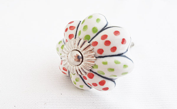Ceramic red green white flower dots pumpkin 4.5cm door knob