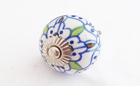 Ceramic blue Moroccan design 4cm round door knob