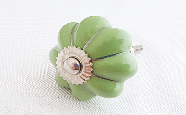 Ceramic green silver 4.5cm pumpkin door knob