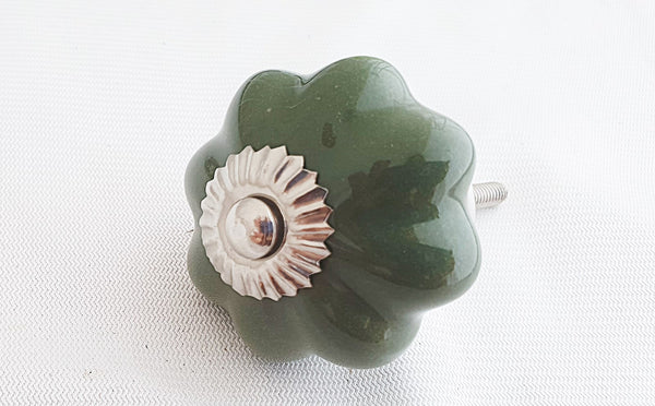 Ceramic pine green 4.5cm pumpkin door knob