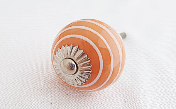 Ceramic orange spiral 4cm round door knob