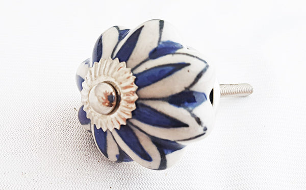 Ceramic blue cream floral design 4cm pumpkin door knob
