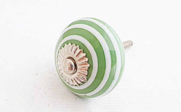 Ceramic green spiral 4cm round door knob