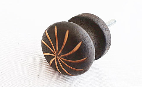 Wooden vintage style brown 3.5cm round door knob