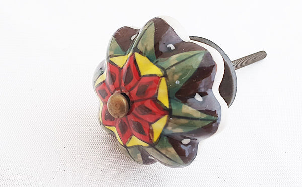 Ceramic colorful 5cm floral pumpkin door knob