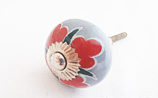Ceramic grey red green floral 4cm round door knob