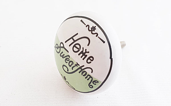 "Ceramic ""Home Sweet Home"" green printed 4cm round door knob"