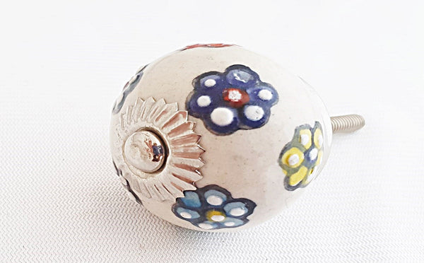 Ceramic colorful embossed floral design 4cm round door knob