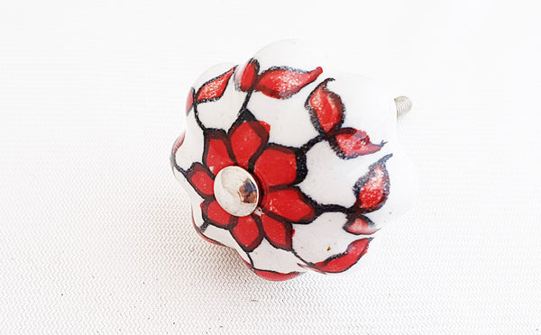 Ceramic white red floral design 4.5cm pumpkin door knob
