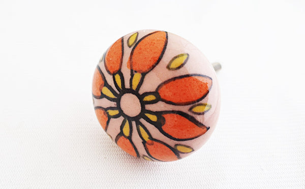 Ceramic pink orange unique shabby chic 4cm round door knob