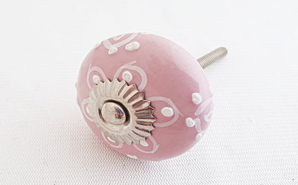 Ceramic shabby chic embossed pink floral design 4cm round door knob