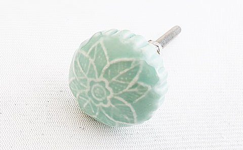 Ceramic small soft blue vintage retro style embossed 3cm door knob