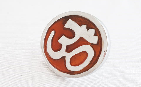 Aluminium orange AUM symbol 4.5cm round door knob