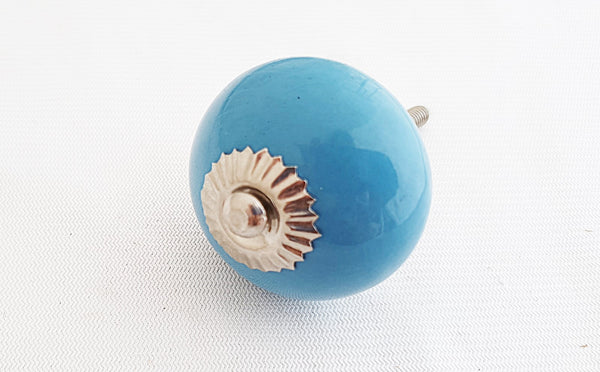 Ceramic aqua blue 4cm round door knob