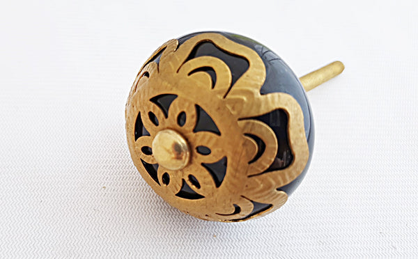 Ceramic black metal decor vintage style 4.5cm round door knob