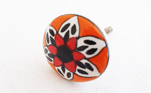 Ceramic orange black beautiful mandala 4cm round door knob