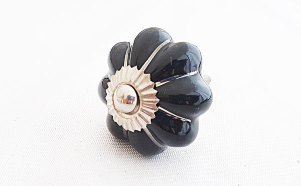 Ceramic black silver 4.5cm pumpkin door knob