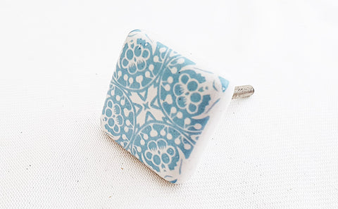 Ceramic blue white unique printed 4cm square door knob