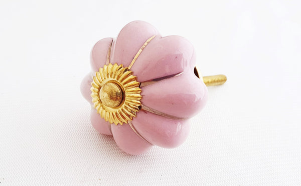 Ceramic shabby chic pink gold 4cm pumpkin door knob