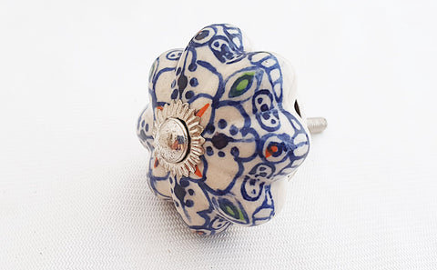 Ceramic blue moroccan design 4.5cm pumpkin door knob