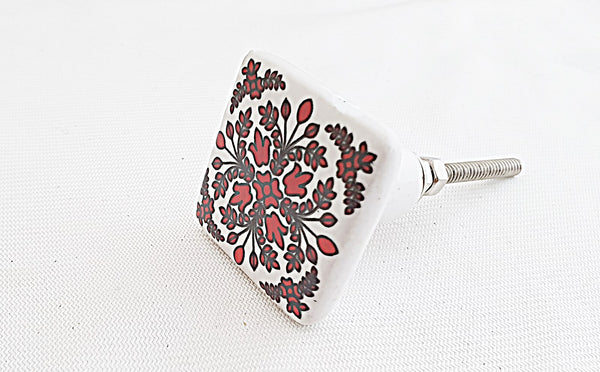 Ceramic red white beautful floral design printed 4cm square door knob