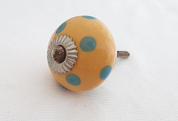 Ceramic yellow turquoise dots 4cm round door knob