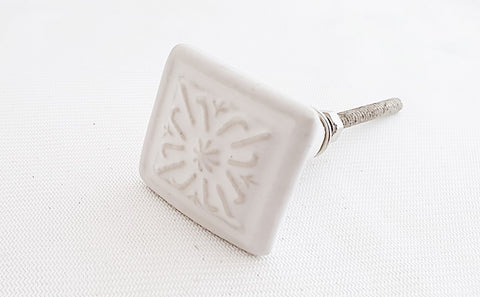 Ceramic white embossed shabby chic vintage 3.5cm square door knob