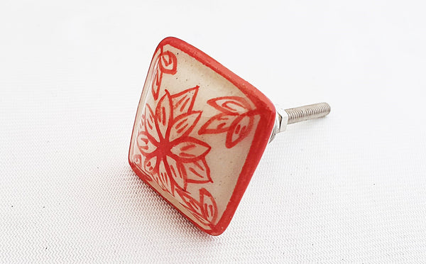 Ceramic red floral design square 3.5cm door knob
