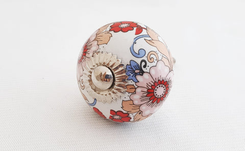 Ceramic beautiful shabby chic printed floral design 4cm round door knob