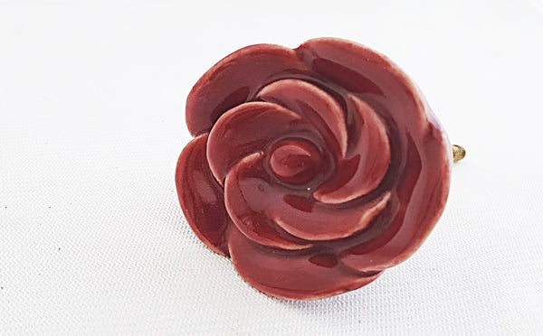 Ceramic shabby chic burgundy rose 5cm door knob