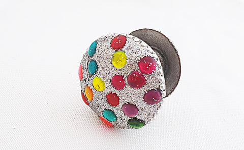 Acrylic funky bright glitter silver 4cm round door knob