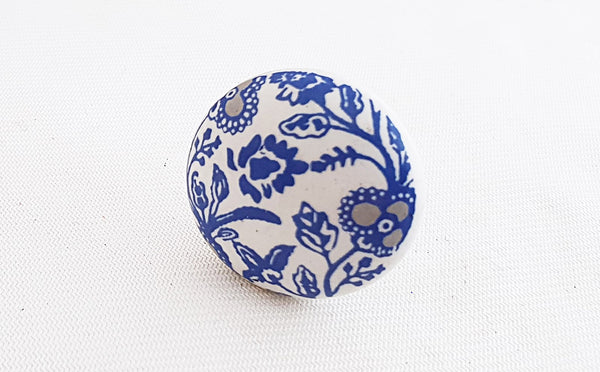 Ceramic blue intricate design Printed 4cm round door knob
