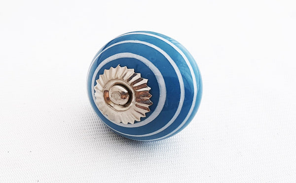 Ceramic ocean blue white spiral 4cm round door knob
