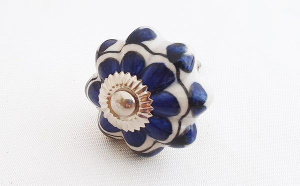 Ceramic blue floral design 4.5cm pumpkin door knob